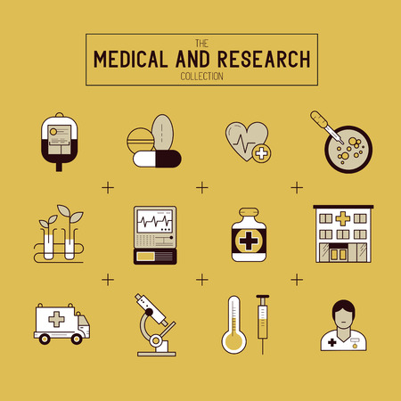 doctor tablet: Medical and Research Icon Set. A collection of gold medical icons including, equipment, people and medical tools.
