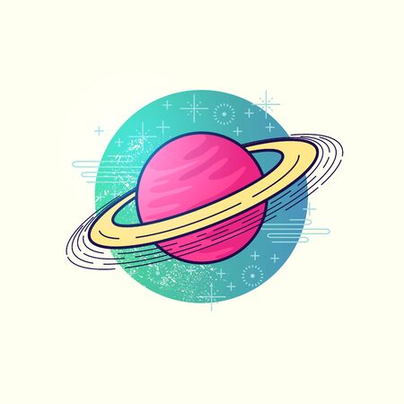 saturn rings: Space Planet Vector. A large gas planet with a ring system. vector illustration