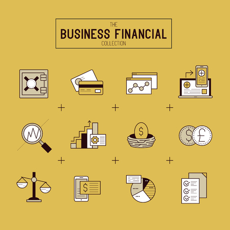 business funds: Business Financial Icon Set. A collection of gold financial icons including market tools, bar charts and currency exchange. Vector illustration.
