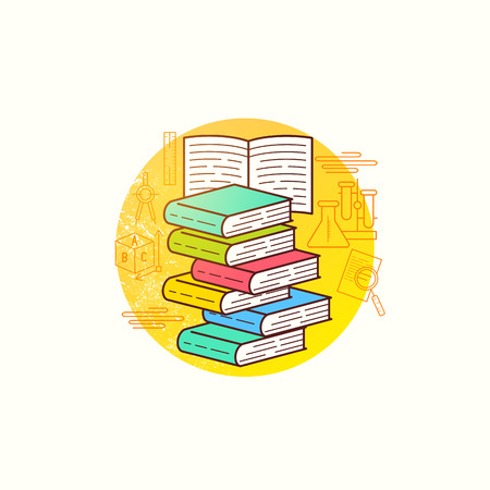 biology lab: Book Collection Vector. A group of books for education and learning. Vector illustration.