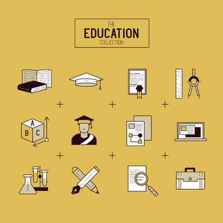 study icon: Education Vector Icon Set. a collection of gold study and research symbols including objects and tools. Vector illustration.