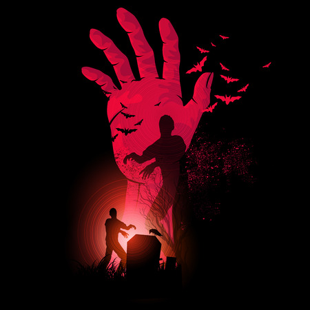 Zombie Night. A zombie hand rising up with zombies walking. Halloween Vector illustration.