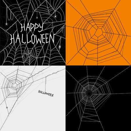 cobwebs: Collection of Cobwebs, Halloween themed spiders cobwebs. Vector illustration.