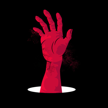 rising an arm: Zombie Hand Rising. A zombie hand rising up from a hole in the ground. Vector illustration.