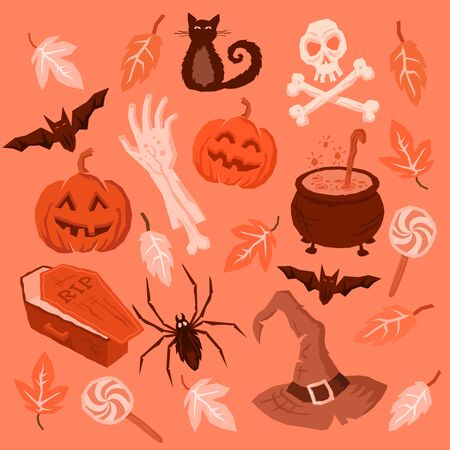 Spooky Halloween Symbols including pumpkins, bats, spiders, zombie arm and witches hat! Vector illustration. Illustration