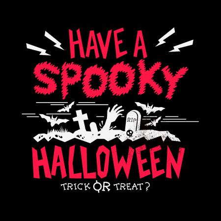 spooky graveyard: Spooky Halloween party design poster. Zombie graveyard. Vector illustration