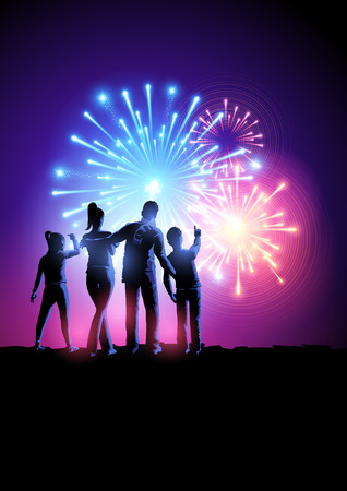 Fireworks Party. A happy family watching a fireworks display. Vector illustration.