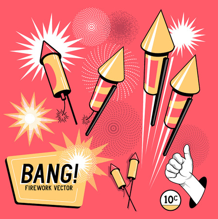 party cartoon: Retro Firework Rockets.Firework rockets, various angles and effects. Vector illustration.