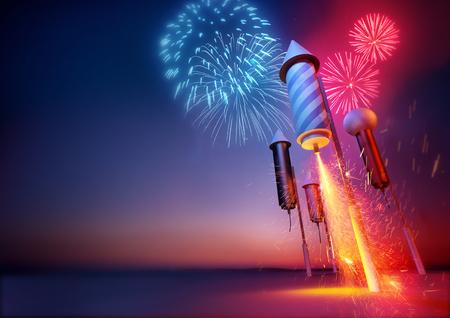 celebration: Fuochi d'artificio razzi lancio. Scintille che volano da un fuoco d'artificio razzi illuminati fusibile. Fuochi d'artificio e feste illustrazione.