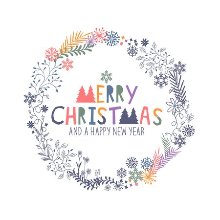 wording: Merry Christmas Wreath with snowflakes and floral patterns. Vector illustration