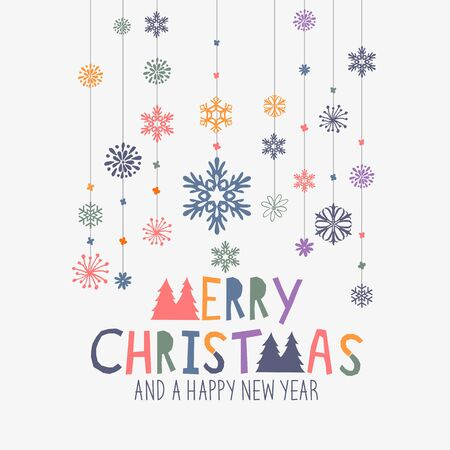 wording: Merry Christmas Decorations. Hanging snowflake decorations and merry christmas sign. Vector illustration.