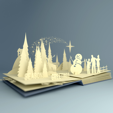 Pop-Up Book - Christmas Story. Styled 3D pop-up book with a chrsitmas theme including a family building a snowman, winter forest and stars. Illustration.