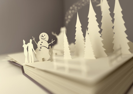 popup: Pop-Up Book - Christmas Story. Styled 3D pop-up book with a chrsitmas theme including a family building a snowman, winter forest and stars. Illustration.