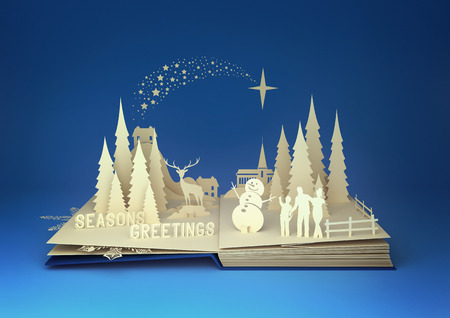 Pop-Up Book - Christmas Story. Styled 3D pop-up book with a chrsitmas theme including a family building a snowman, winter forest and stars.