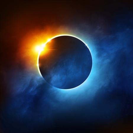 phenomenon: A Total Eclipse of the Sun. Dramatic Solar Eclipse illustration.