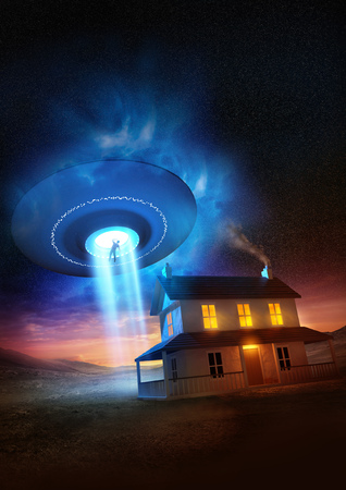 abducted: A man abducted near his isolated home by a UFO.