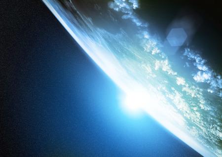 horizonte: Planeta Tierra. Ilustración de nuestro planeta visto desde el espacio. Foto de archivo