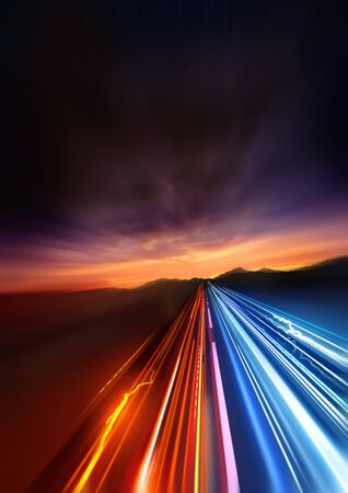 light speed: Super Fast. fast Light trails speeding into the distant landscape. Stock Photo