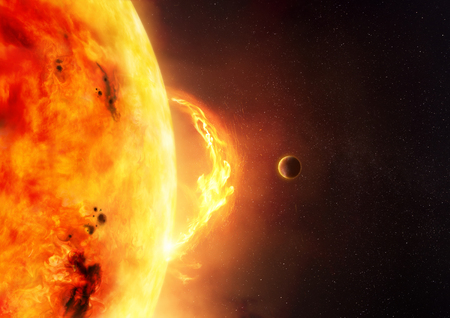The Sun - Solar Flare. An illustration of the sun and sun flare with a planet to give scale to the size of the flare. Stock Photo