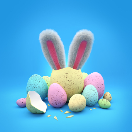 bunnies: Easter Bunny. Easter chocolate eggs with a bunny hatching out of an easter egg! Stock Photo