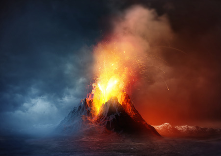 erupting: Volcano Eruption. A large volcano erupting hot lava and gases into the atmosphere. Illustration.