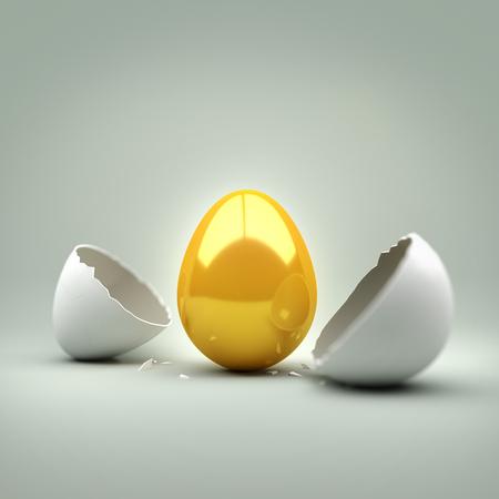 New Golden Egg. A cracked egg revealing a new golden egg. Concept.