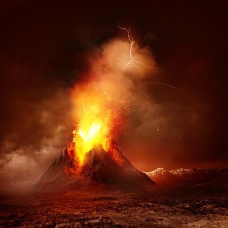 Erupcja wulkanu. Duża erupcja wulkanu gorącej lawy i gazów do atmosfery. Ilustracja.