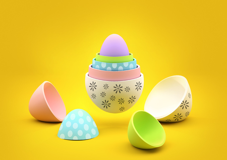 3d doll: Nesting Easter Eggs. Stacked easter eggs with various designs. Stock Photo