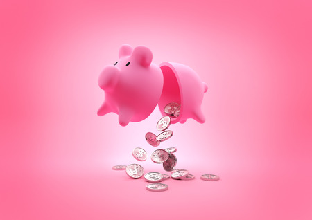 pig out: A broken Piggy Bank. Open piggy bank dropping coins onto the floor. Illustration.