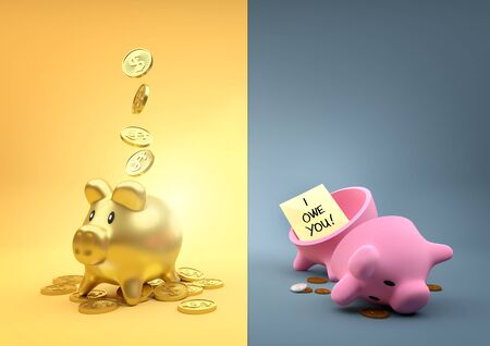 long term goal: Different  Fortunes. Two money piggy banks - One full of gold the other empty other than a few pennies. Stock Photo