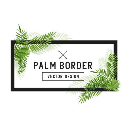 Tropical Palm Leaf Border Vector. Summer Palm tree leaves around a border. Vector illuatration.  イラスト・ベクター素材