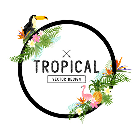 Tropical Border Design. tropical hand drawn elements including bird of paradise flower, Toucan and flamingo birds and tropical floral elements. Çizim