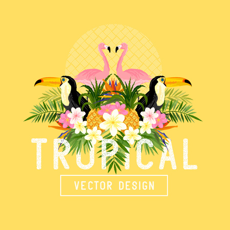 Tropical Summer Vector. Tropic elements including flamingo, Palms, Bird of paradise flowers and pineapples Illustration