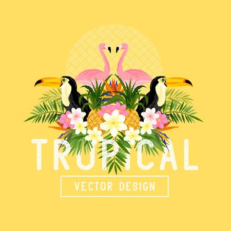 ave del paraiso: Tropical vector verano. Tropic elementos, como flamencos, Palms, Aves del Para�so flores y pi�as Vectores