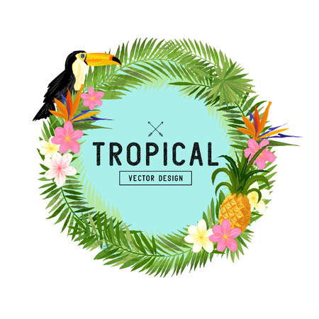 palm wreath: Tropical Wreath Vector. Hand drawn tropical wreath floral elements including tropical flowers, palm leaves, pineapple and a Toucan bird. Vector illustration.