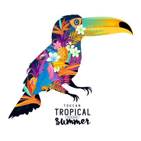 tropical: Tropical Summer Toucan. Abstract Toucan bird with various tropical elements.