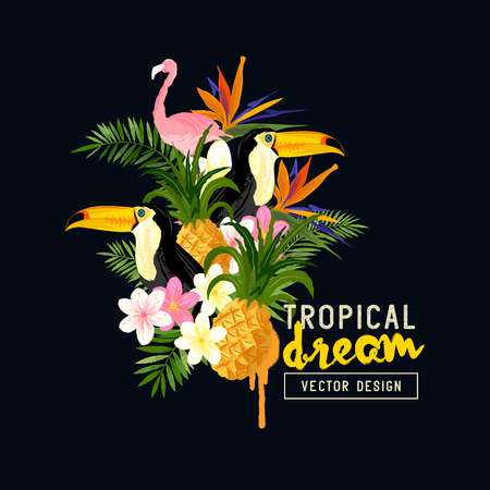 animal vector: Tropical Border Design. tropical hand drawn elements including bird of paradise flower, Toucan and flamingo birds and tropical floral elements. Illustration