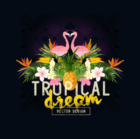 flamenco ave: Tropical vector verano. Tropic elementos, como flamencos, Palms, tucanes, Ave del paraíso flores y piñas Vectores