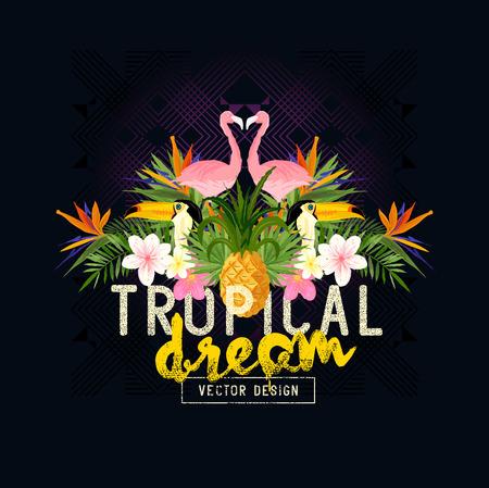 Tropische zomer Vector. Tropic elementen, waaronder flamingo's, palmen, toekans, Paradijsvogel bloemen en ananassen Vector Illustratie