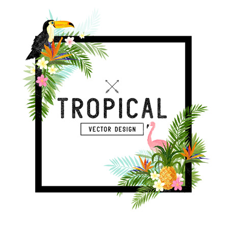 Tropical Border Design. tropical hand drawn elements including bird of paradise flower, Toucan and flamingo birds and tropical floral elements.