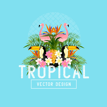 Tropical Lato Wektor. Elementy Tropic tym flamingów, palmy, Toucans, rajskich ptaków kwiatów i ananasów