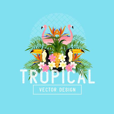 Tropical vector verano. Tropic elementos incluidos flamencos, Palms, tucanes, aves del paraíso de flores y piñas