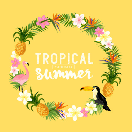 Tropical Wreath. Including flamingo, Palms, Toucans, Bird of paradise flowers and pineapples.