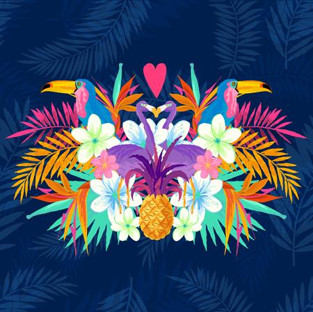 Vivid Amour Tropical. éléments Tropic dont flamant, Palms, Toucans, Oiseau de fleurs de paradis et d'ananas. Banque d'images - 54312270