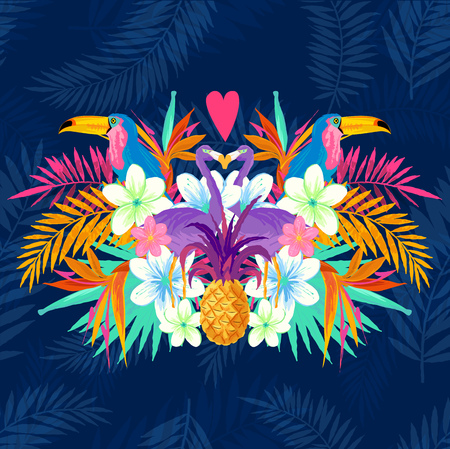Vivid Tropical Love. Tropic elements including flamingo, Palms, Toucans, Bird of paradise flowers and pineapples. Stock Illustratie