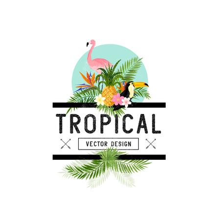 Elementos de diseño tropical. Varios objetos incluyendo aves tropicales, piña y hojas de palmera Toucan.