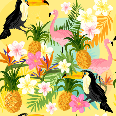 Tropical Seamless Pattern with Flamingos, toucans, pineapples and tropical flowers.