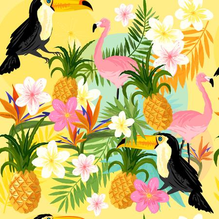 Tropische Naadloos Patroon met Flamingo's, toekans, ananas en tropische bloemen.