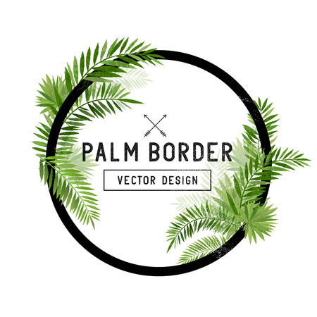 vector hand: Tropical Palm Leaf Border Vector. summer Palm tree leaves around a circle border. Vector illuatration.