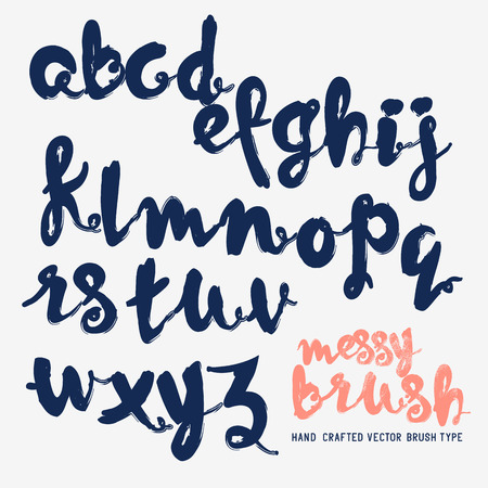 handcrafted: Handcrafted vector messy brush lettering. Vector illustration.